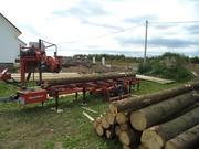 Распиловка леса,  передвижная пилорама,  доска,  брус,  стропильная систем